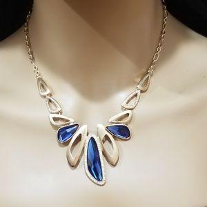 Blue Austrian Crystal & Rose Gold Necklace